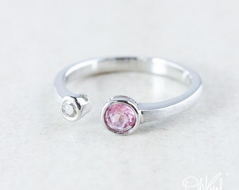 Silver Princess Pink Tourmaline & Diamond Dual Ring