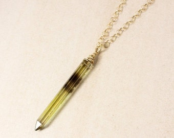 40 OFF SALE Bi-Colour Quartz Crystal Necklace – 14K Gold Filled Chain