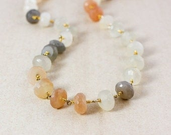 40 OFF SALE Peach Moonstone Necklace – Vermeil Gold Hoops – Layering