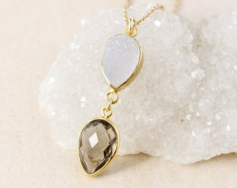 50% OFF SALE - Smokey Quartz and White Druzy Necklace – 14K Gold Filled