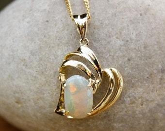 MOTHERS DAY SALE Gold Rainbow Australian Opal Necklace - October Birthstone Necklace - Heirloom Jewelry