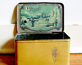 Vintage Tin Box Yellow and Green Eskimo North Pole Antarctica Theme Pages