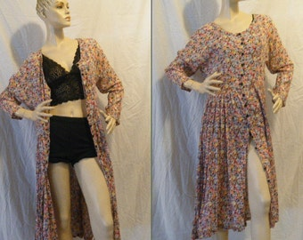 Vtg 90s Ditsy Floral soft gauzy Indian cotton button up Maxi Dress Duster Medium Large XL