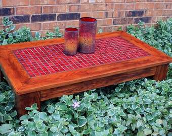 "Red Mosaic Coffee Table.  Reddish Brown Coffee Table.  Mosaic Tile Coffee Table.  Organic Red Glass Coffee Table.  ""Fire and Ice"" Mosaic."