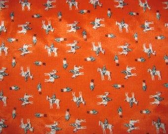 Vintage Square Small Scarf - Horse/Equestrian Scarf - Bright Orange - Synthetic - Small/Pochette Size, Pocket Square