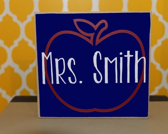 Personalized Teacher Block- Teacher gift, School gift, Teacher Apple Block, Classroom Decor, Classroom gift