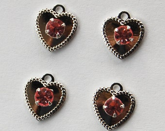 Vintage Silver Hearts Rhinestones 4 Sterling Plated Hearts Swarovski Ruby Red 10mm
