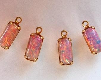 Vintage Glass Opals 4 Fire Opal Octagon Brass Pendant Beads 10x5mm