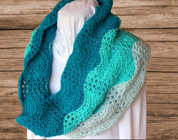 Three Color Scarf Knitting Pattern : Knitting Pattern Knit Cowl Patterns Gradient by KimberleesKorner
