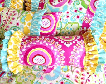 Kumari Garden Jeevan Pink, Tarika Blue, and Yellow Fulton Ruffled Bolster Pillow Sham