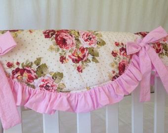 Shabby Roses Custom Rail Covers, Bumperless Crib Bedding, Baby Pink Rail Covers for Bumperless Cribs, Roses Rail Covers for Baby Crib