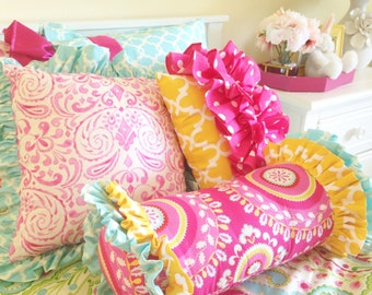 Kumari Garden Mirala Pink and Tarika Blue 16 x 16 Sham, Accent Pillow