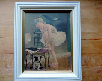 August Albo boston terrier wall plaque 50s ballerina + puppy framed picture wall hanging