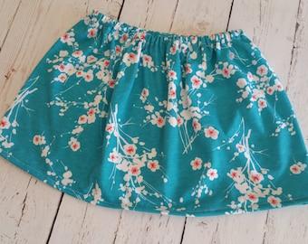 Girl's Turquoise Coral Flower Print Skirt