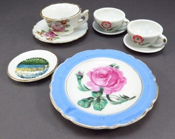 Collection Vintage Miniature Doll Dishes Tea Time Play Dishes