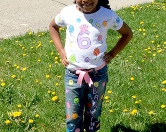 BIRTHDAY candy Lollipop skirt, shorts or jean set Hand Painted handpainted set size 18mth, 24, 3t, 4t 5t 5 6 ETSYKIDS Boutique custom
