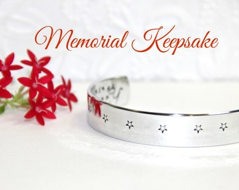 Memorial Bracelet | Hand Stamped Condolence Gift | Hidden Message Sympathy Bracelet | Meaningful Bereavement Gift | Stars  | Handmade