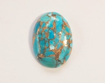 Kingman Turquoise Infused with Bronze Oval Cabochon