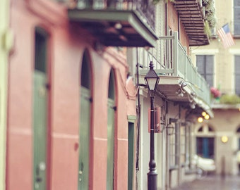 """French Quarter Pirates Alley """"Morning Alley"""" Art Photograph. New Orleans Affordable Print. Mardi Gras. Street Lamp, Morning, Pastel"""