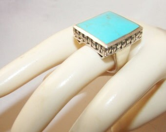 Free Shipping Huge Southwestern Native American Genuine Turquoise Sterling Silver Vintage Ring