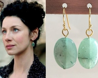 Genuine Green Aventurine Oval Earrings- e721