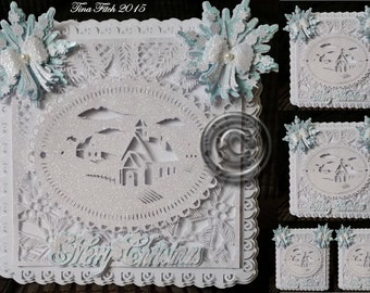 Christmas Scene Card Cutting File, DXF,SVG,MTC,Scal,ScanNCut,Cricut,Silhouette