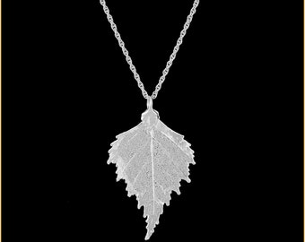Real Birch Leaf Dipped In Silver Pendant - Real Dipped Leaf - In Gift Box