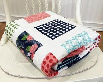 "Baby Quilt, Gooseberry HANDMADE, Crib, Pink, Aqua, Green, Navy, White, Flowers 38 1/2x44"""