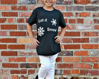 Let it snow shirt, girls winter shirt, snow flake top, girls black shirt