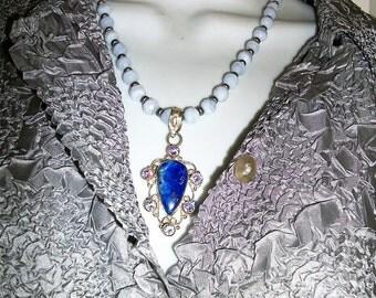 Necklace w Pendant  Blue  Lace agate+  LApis  Unique OOAk Boho handmade  Big Bold
