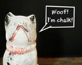Antique Chalk Dog, Vintage Boston Terrier, Vintage Bulldog, Vintage School Supplies, Antique Chalkboard Tool