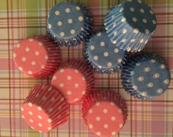 Cupcake Liners 10 Dozen (120)Mini Cupcake Wrappers-Gender Reveal-Baby Showers Baby Pink & Baby Blue