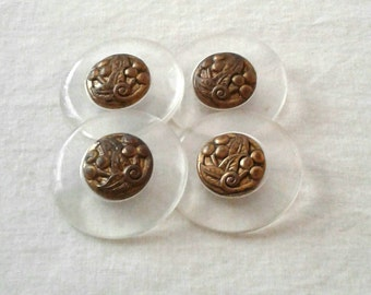 """SALE -  Vintage 1 1/2"""" or 37 mm Clear Lucite or Acrylic Buttons with Metal Centers - Set of 4"""