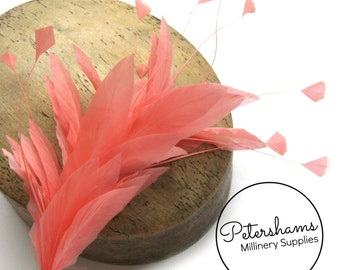 Stripped Diamond Coque & Goose Feather Wired Millinery Hat Mount - Coral