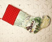 Grandma Moses 'Early Springtime in the Snow' Vintage Barkcloth Christmas Stocking with Red Vintage Chenille Cuff