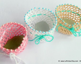 Mermaid Tears - FAVOR BAG - 3 Crochet favor bag with Italian Genuine Sea Glass - recycled reuse