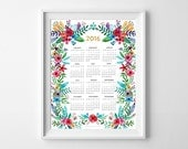 2016 watercolor floral calendar. 12 month calendar. Modern Wall calendar. 1 Page. Home office. 8.5 x 11 letter size. New Year. Gift