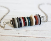 Multi-colored Repurposed Button Necklace | Neutral, Teal, & Red Recycled Button Jewelry