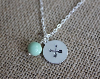 Boho Silver Necklace, Hand-stamped Arrow Necklace with Mint Green Bead, Boho Stamped Jewelry