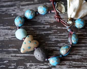 Unlisted - Sky Blue Heart Bracelet - Boho Knotted Bracelet - Ceramic Bead Bracelet - Blue and Brown - Bead Soup Jewelry