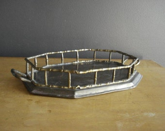 Vintage Brass Tray - Small Bambo Serving Tray or Plant Tray