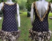 80s Prom Dress with Bubble Hem / Vintage Dress in Black & Gold / Mini Dress / 80s Dress Size 10