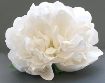1  Alabaster White Boutique Peony - Artificial Silk Flower, Bridal Flower