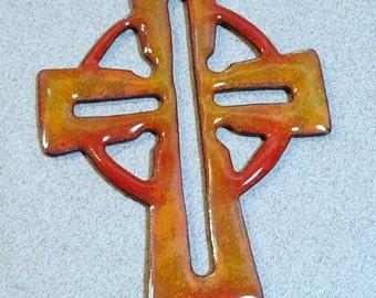 Enameled Copper Celtic Cross Pendant