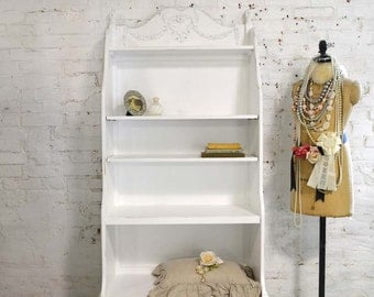 Painted Cottage Chic Shabby Romantic French Bookcase / Bookshelf