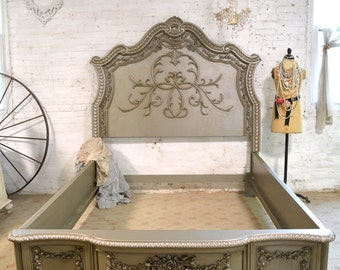 RESERVE LISTING Do Not Purchase French Bed Painted Cottage Shabby Chic  Queen / King / Bed BD744
