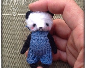 2 inch Artist Handmade Viscose Miniature Pocket Sized Teddy Panda Chen by Sasha Pokrass
