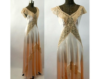 1930s silk nightgown Fischer charmeuse and lace bias cut glamorous peach Size S