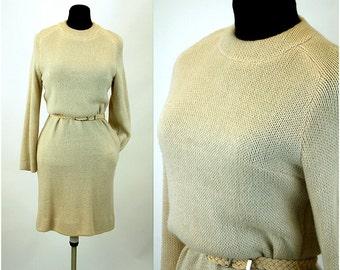 1960s sweater dress knit dress Bill Atkinson cream ivory Size M/L