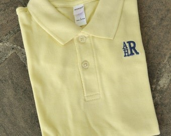 Monogrammed Polo for Boys - Lemon